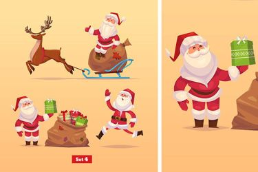 Set of Funny santa,deer and presents. by krolone