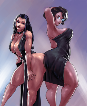 duo OC sketch commission by cutesexyrobutts