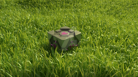 Companion Cube in a Grassy Field by Apple303