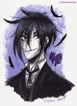 Black Butler-goth boy sebby doodle by Stray-Sketches