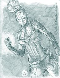 Captain Marvel 001 Small by mikewilsonart