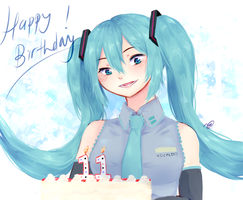 Miku 11th Bday by anoneki