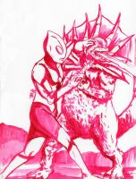 Daily Sketch: Ultraman Fight by Hunchy