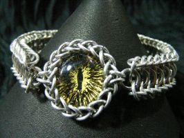 Yellow ice and black dragon eye in aluminum maille by BacktoEarthCreations