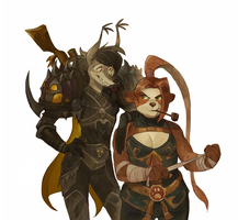 Hunter and monk by Drkav