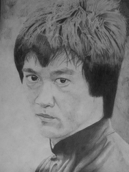 Bruce Lee Ballpoint Pen Drawing by rae3604