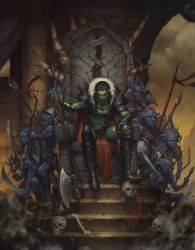 Orc Queen, Master and Minions by kevinsidharta