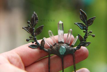 Crystal quartz point and apatite hair comb by Krinna