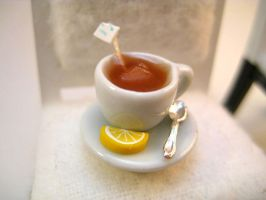 Hot Tea with Lemon in Miniature by AlliesMinis