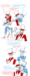 White hat and Black hat by WhiteFox89