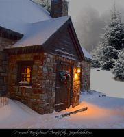 Christmas Cottage 1 by Virgolinedancer1 by VIRGOLINEDANCER1