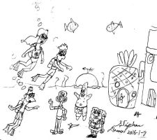 Candace, Phineas and Ferb meet Spongebob and co. by stephdumas