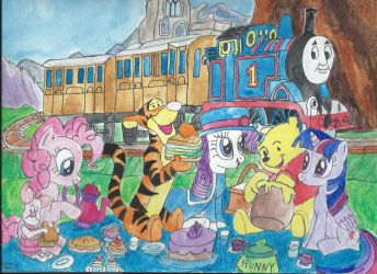 MLP and Winnie The Pooh picnic in Sodor by merrittwilson