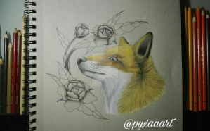 fox and flowers  by pyxaaart