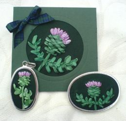 Silk ribbon Thistle cards by fairyfrog