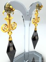 Black Moon Earring, Ohrstecker, Ohrring 3D by digitalAuge