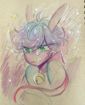 A drawing of a crying space bun by Sushush