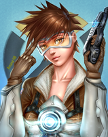 Overwatch Tracer Digital Fanart by Amana-HB