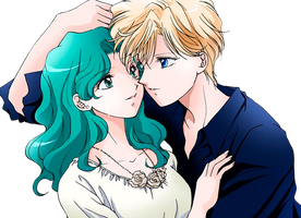 Uranus x Neptune - Sailor Moon Crystal - png III by AriaLacava
