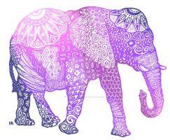 Zentangle Elephant (Violets Variant) by EuphoriouSin