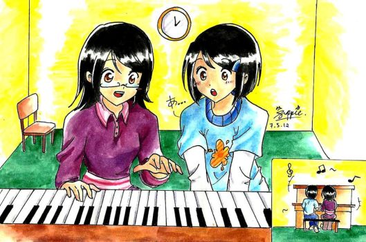 Playing the piano with my twin by suppiechan25