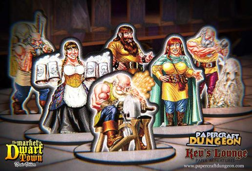 Paper Minis - The Market in Dwarf Town (Basic Ed) by BraveSirKevin