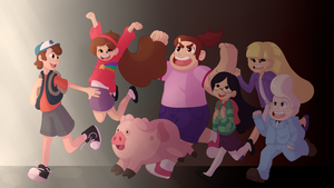 gravity falls kids adventure by KisaraDoesArt16