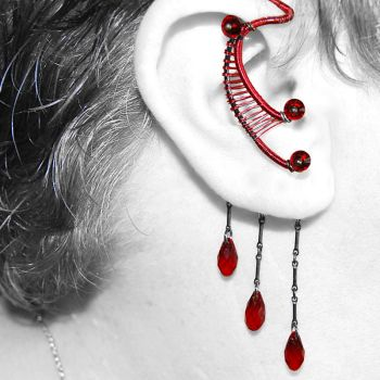 Red And Black Ear Wrap- SOLD by YouniquelyChic