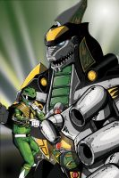 Green Dragonzord colored by ragelion