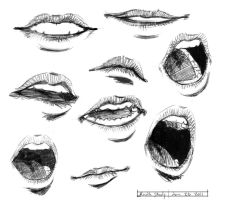 mouth study by BlackMoonDeath