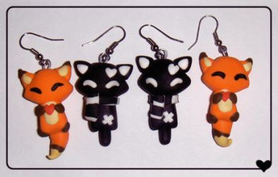 Fox and Kitty earrings. by imaginated-friend