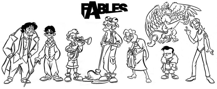 Some Fables Characters by borogove13