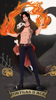 Portgas D Ace. Halloween Desing by HatoChan19