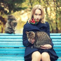 Varya and Cats. by inbrainstorm