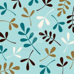 Assorted Leaves Teals Cream Gold Brown by NatPaskell