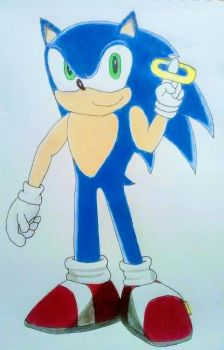 Sonic With a Power Ring (Art Trade) by dwaters220