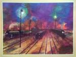 Otto Kuhler Railroad Art - Night In The Yards by PRR8157