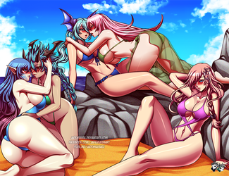 COMMISSION : Brave Frontier Beach Harem by jadenkaiba