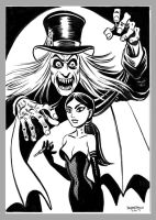 Mini Monster Ink Drawing 3 London Vampire by BryanBaugh