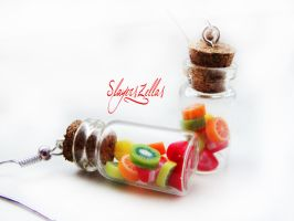 Earrings - Bottles with fruits by Benia1991