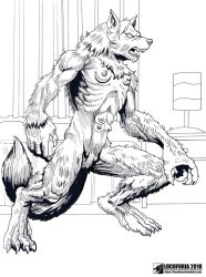 Werewolf girl in her room 08 by locofuria