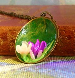 Crocus Pendant Necklace in Polymer Clay by aldcord