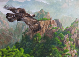 The eagle and the mountains by NightFury1020