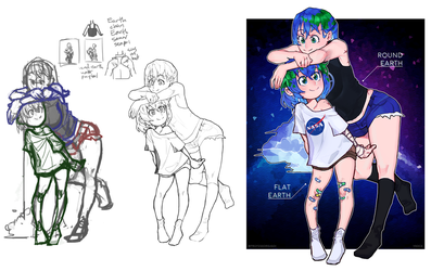 Earth-chan and Earth-senpai by vSock