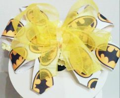 Batman print with sheer yellow ribbon headband by wolf-girl87