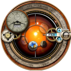 Rainmeter Skin for the Steampunk Orrery and Clock by yereverluvinuncleber