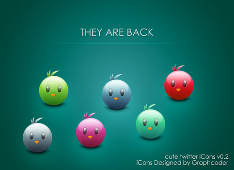 cute twitter bird iCon  color variation by graphcoder