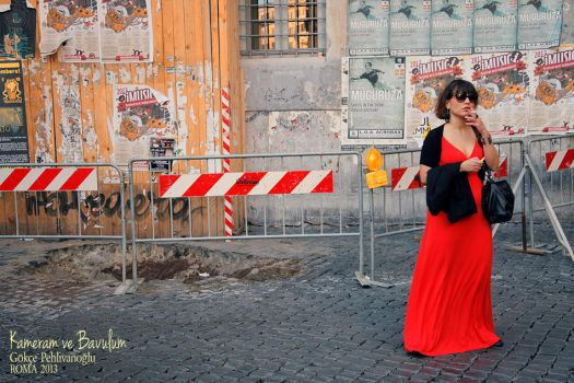 Rome - woman in red by Anahita