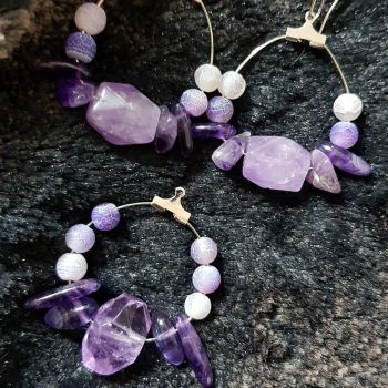 Amethyst Ear and Necklace Jewellery by Albiona