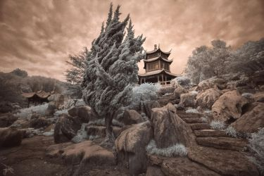 Pagoda at Dusk - Infrared by SteveCampbell